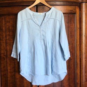 Symple Linen Lace Light Blue Tunic Top